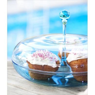 Sagaform - patera na ciasto z przykrywką Happy Days niebieska