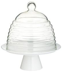 Kitchen Craft - patera porcelanowa z kloszem glass dome